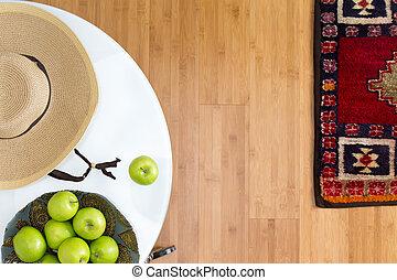 fresco, manzanas verdes, sobre la mesa, con, marrón, sombrero