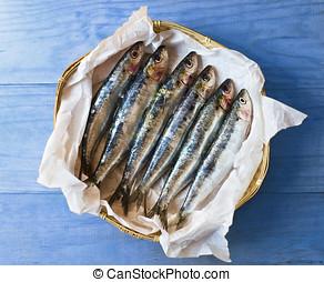 fresco, mediterráneo, sardines.