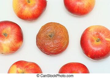 fresco, mela marcia, rosso