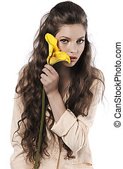 fresco, menina, calla, bonito, amarela