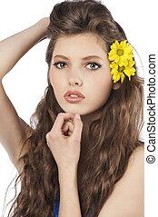 fresco, menina, flor, amarela