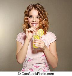 fresco, menina, limonada