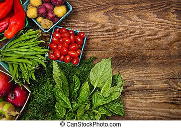 fresco, mercado, frutas y vehículos