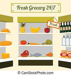 fresco, mercearia, alimentos, loja, prateleiras