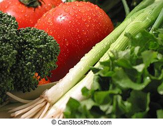 fresco, mojado, vegetales