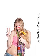 fresco, mulher jovem, em, coloridos, excitado, ornamentar
