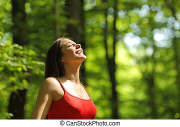 fresco, mulher, respirar, floresta, ar
