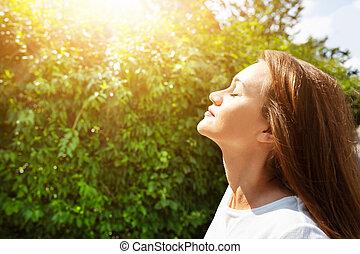 fresco, mulher, respirar, jovem, ar