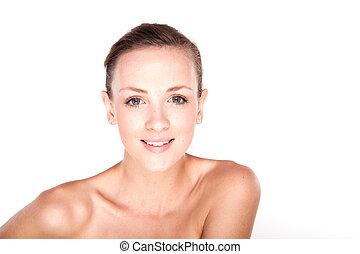fresco, mulher sorridente