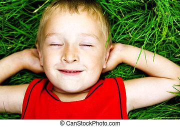 fresco, niño, pasto o césped, feliz, soñar