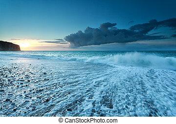 fresco, oceânicos, pôr do sol, ondas