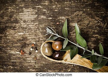 fresco, ogive, su, uno, rustico, tavola legno