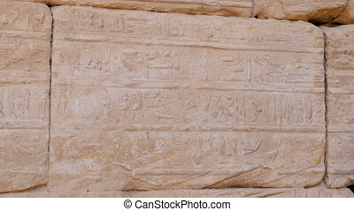 Hieroglyphs Are Depicted on the Wall. This is the Dead Language of the Inhabitants of Ancient Egypt. It is Well Preserved on the Walls of the Temple of Amun-Ra.