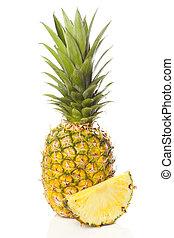 fresco, orgánico, amarillo, piña