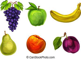 fresco, orgánico, colección, fruits