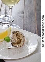 fresco, ostras, vino