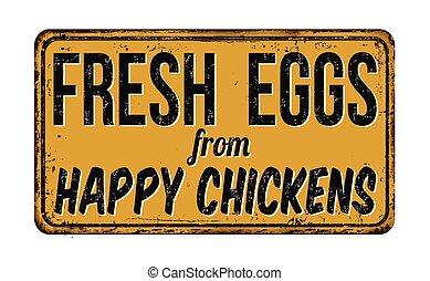 fresco, ovos, de, feliz, galinhas, metal enferrujado, sinal
