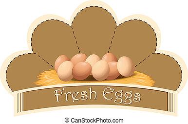 fresco, ovos, etiqueta