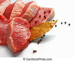 fresco, pedazo, carne, crudo