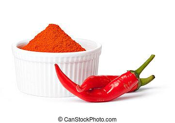 fresco, pepe, sfondo bianco, rosso