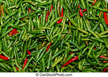 fresco, peperoni verdi, vendita, in, mercato