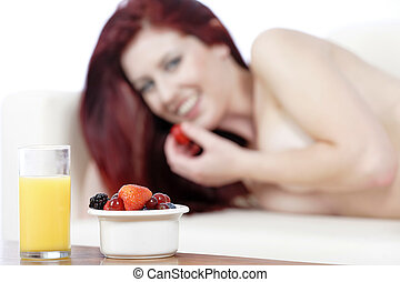fresco, pequeno almoço, mulher, fundo