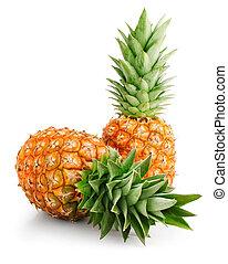 fresco, piña, fruits, con, hojas verdes
