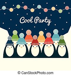 fresco, pingüinos, fiesta
