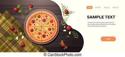 fresco, pizza, circondato, vicino, verdura, ristorante, italiano, delizioso, concetto, cima, angolo, vista, cibo, servito, su, tavola legno, orizzontale, appartamento, spazio copia