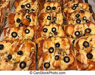 fresco, pizza, horneó pan