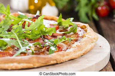 fresco, pizza, prosciutto, razzo, pomodori