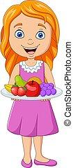 fresco, poco, presa a terra, frutte, ragazza, piatto, ...