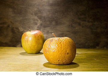 fresco, podrido, manzanas