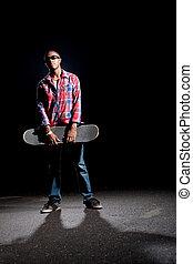 fresco, posar, petimetre, skateboarder