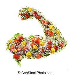 fresco, potere, insalata