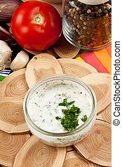 fresco, preparación de ensalada