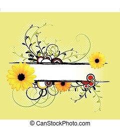 fresco, primavera, abstratos, floral, fundo