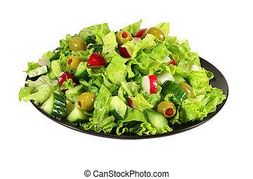 fresco, primavera, alface, salada
