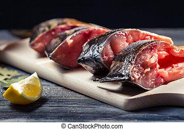 fresco, primer plano, limón, pez