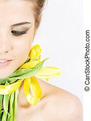 fresco, primo piano, portait, tulips