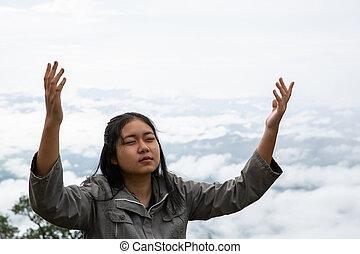 fresco, profundo, respiração, adolescentes, feliz, montanha, respirar, limpo, topo, ar