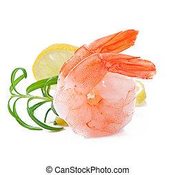 fresco, rabo, limão, camarão