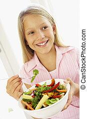 fresco, ragazza, mangiare, giovane, insalata