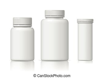 fresco, realista, blanco, botella plástica, set.