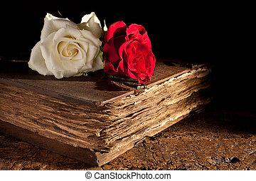 fresco, rose, su, vecchio, libro