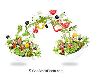 fresco, salada, com, voando, legumes, ingredientes