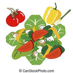 fresco, salada, jardim