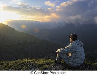 fresco, salida del sol, en, montaña