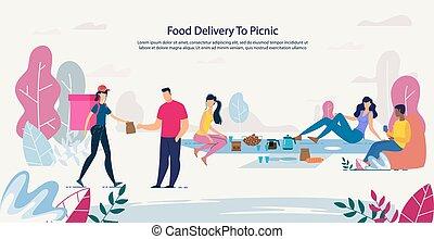 fresco, sano, picnic, servicio de entrega, alimento