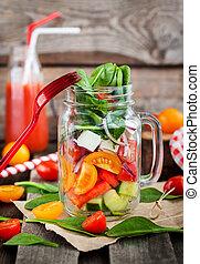 fresco, saudável, vegetal, salada, em, frasco vidro